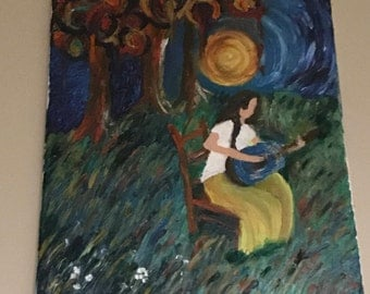 Girl playing Guitar Oil Painting