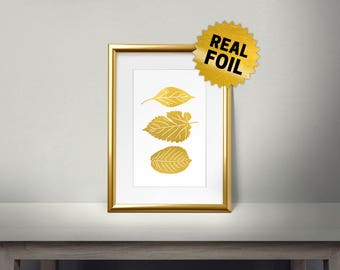 Gold Leaf Foil, Real Gold Foil Print, Leaves Wall Decor, Leaves Decoraction, Gold Leaf Foil Print, Home Decoration, Fall Home Decor,