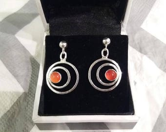 Carnelian sterling silver earrings - unique pair