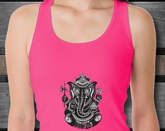 Yoga Tank with Hindu God Ganesha