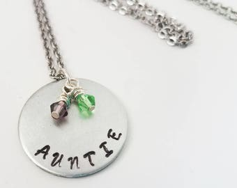 Auntie Hand Stamped Metal Jewelry Birthstone Neckace Aunt Children Niece Nephew Jewelry