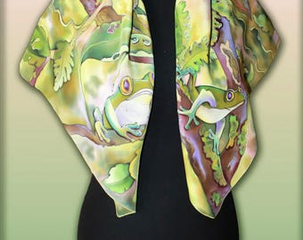 Silk Shawl Scarf Frogs, Handmade silk scarf, Scarves for women, Colourful Handpainted scarf, Silk Wrap, Rare Unique Gift