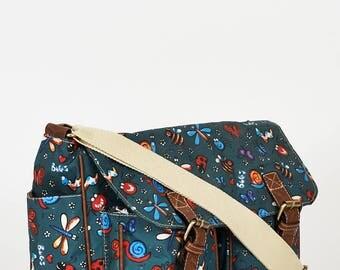 Bugs Pattern Zip Fastening Dark Blue Satchel Bag