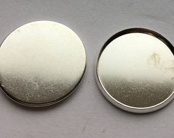 Silver Plated Cabochon Settings  Pendant Bezel Tray 18mm  Inner Tray DIY Findings for Jewelry Making 50Pcs