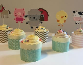 12 Farm Animals Cupcake Toppers, Cake Toppers, Birthday, Baby Shower