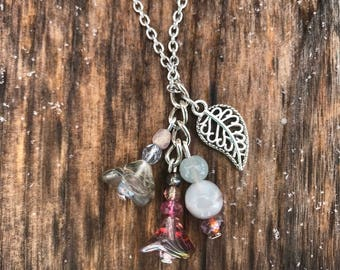 Leaf Necklace, Necklaces for Women, Flower Necklace, Charm Necklace, Stainless Steel Necklace, Leaf Jewelry, Czech Glass Necklace, Jewelry