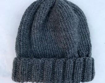 Cozy Dark Gray Hand Knit Hat