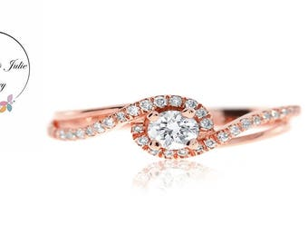 14K Rose  gold double band diamond ring, spiral diamond ring Diamond Ring solitaire with side stones Simple Diamond ring Unique Engagement