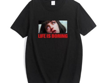 Life is Boring Letters Print Women Tshirt