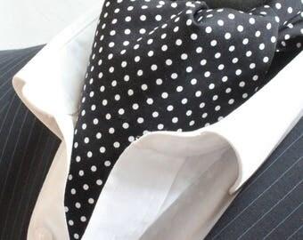 Cravat Ascot. UK Made. Black Small Polka Dot. Cravat & Hanky.Premium Cotton.