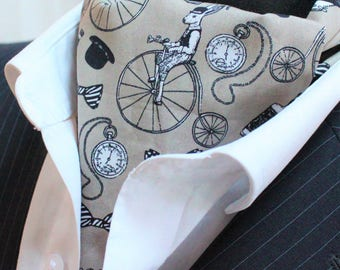 Steampunk Cravat Ascot Cravat Penny Farthing Lt Brown. Match Hanky. England Made