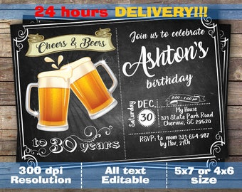Beer Party Invitation, Beer Birthday Invitation, Beer Invitation, Surprise Beer Birthday, Cheers And Beers Invitation, Double Sided Inv.