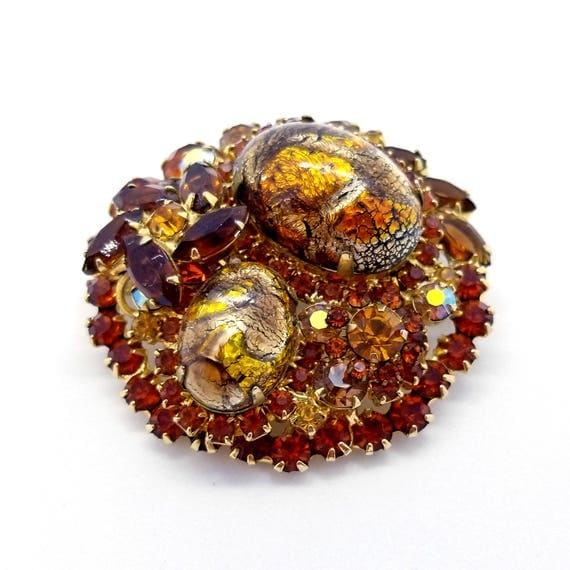 Vintage Juliana Round Rhinestone Autumn Tones Brooch - Flashy Foil Cabochons