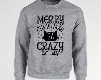 Merry Christmas Cat Lover Gifts For Xmas Sweater Holiday Sweatshirt Christmas Jumper Kitty Clothing Cat Gifts Crewneck Hoodie TEP-543