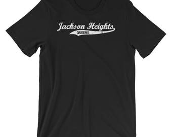 Jackson Heights Queens T-shirt : Retro Queens Vintage NYC Tee  Short-Sleeve Unisex T-Shirt