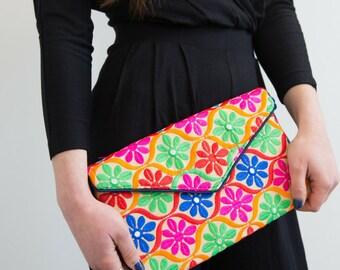 Ethnic Handbag, Floral Handbag, Boho Cross Body Bag, Vegan Handbag, Envelope Shoulder Bag, Embroidered Bag, Colourful Mirror Work Bag