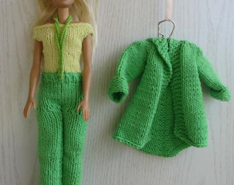 Set for Barbie, handmade, yellow-green doll overalls, Barbie Clothes, Barbie fashion.