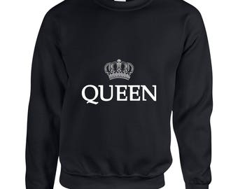 Queen  Couple Goals Clothing Adult Unisex Sweatshirt Printed Crew Neck Sweater for Women and Men