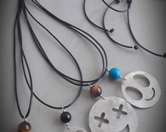 Handmade Necklace Emotions of bronze Metal and Black Leather Strap