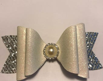 PRINCESS COLLECTION Large Glitter Hair Bow Silver Mesh Glitter & White Fine Glitter with Rhinestones Pearl Girls Toddler Women Wedding