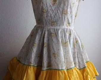 Vintage Kate Schorer Originals Square Dancing Dress Yellow Floral Rockabilly with Belt Western Swing