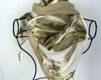 Beige square scarf collection 120, shawl, scarf, off white scarf, women scarf, scarf, gold