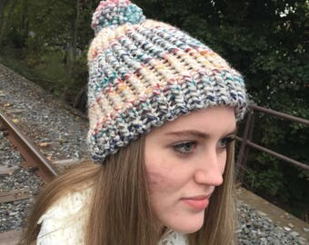 Multi-Colored Adult Winter Hat with Pom Pom