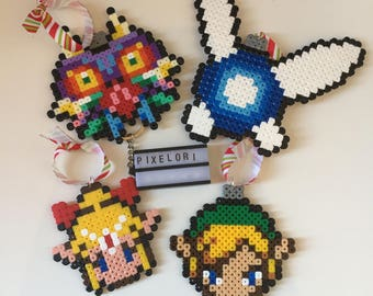 Set of 4 The Legend Of Zelda Hama Bead Christmas Decorations Baubles Link Navi Majora's Mask Xmas