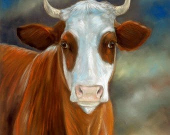 Brown and White Cow Original Pastel Painting