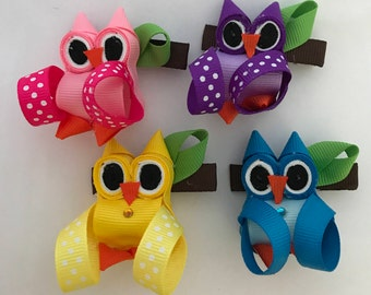 colorful owl hair clips