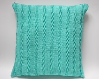 Turquoise  knit pillow 16x16 Decorative Pillow cover Toss pillow Knitted cushion 40x40 Knit cushion cover AnaValenArt Throw Pillow sham