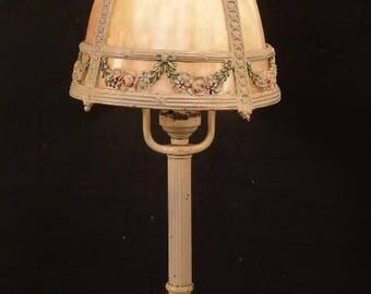 Antique Art Nouveau Cast Iron Miller Panel Curved Slag Glass Garland Swag Lamp