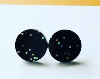 Black Acrylic with Glitter. Stud Earrings.