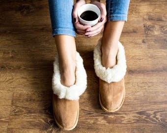 Sheepskin slippers Sheepskin moccasins Sheep fur wool slippers leather sheep slippers Wommen slippers Wommen gift Christmas gift for women