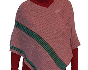 Poncho knitted in pure worsted wool for women. Light pink-blue-green. Suitable for pregnant women