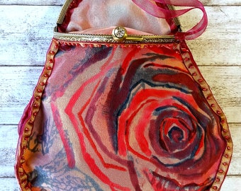 Bespoke painted rose silk purse,hand painted pure silk,ombre colours,unique purse,small clutch bag,cosmetics bag,glasses case.