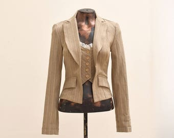 Stripes Blazer, Vintage Blazer, Blazer and Vest, Odds n Evens Blazer with Vest, Brown, Women, Size 3, Vintage Outfit, Business Casual, 80s