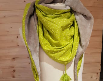 Adult, green, Brown, scarf, scarf, Snood fleece, cotton printed triangle