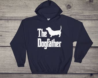 The Dogfather hooded sweatshirt, basset silhouette, funny dog gift hoodie, The Godfather parody, dog lover sweater, dog gift