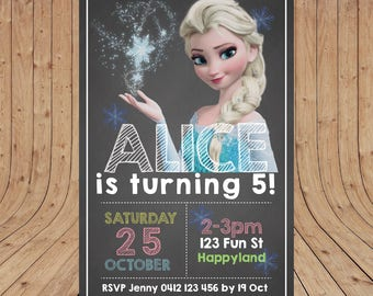 Personalised Elsa or Anna FROZEN Birthday Party Invitation DIGITAL You Print