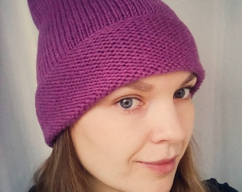 Purple women hat, purple beanie knit hat, hipster women hat, slouchy beanie hat, slouchy beanie women, knit hat slouchy, hand knit women hat