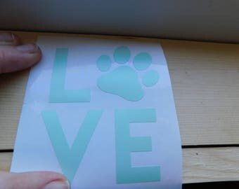 Love cat decal, love cat paw print decal, love animals decal, animal paw print decal, animal paw print truck decal, cat paw print sticker