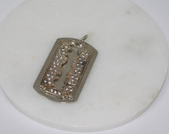 Sterling Silver and Cubic Zirconia Dog Tags / Razor Blade Pendant. Vintage. Jewellery, pendant, vintage necklace, 925 silver, gift.