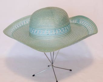Vintage Blue Wide Brim Sun Hat with Lace Detail