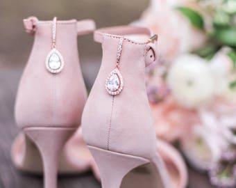 Ava Cubic Zirconia Tear Drop Earrings Rose Gold, Teardrop Wedding Earrings, Wedding Jewellery, Bridal Jewelry, Crystal Engagement Earrings