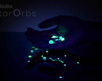 Tiny 3D Domed Glow in the Dark Realistic Star Stickers, Star Ceiling Decals, Galaxy Wallpaper Stars, Night Light Lamp, Glodio StarOrbs