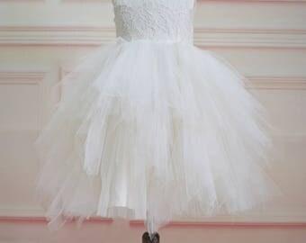 Ruffle Tulle Skirt Flower Girl Dress