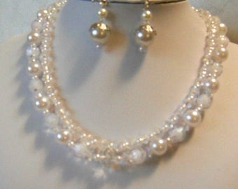 White pearl and clear multi-strand necklace with free matching earrings