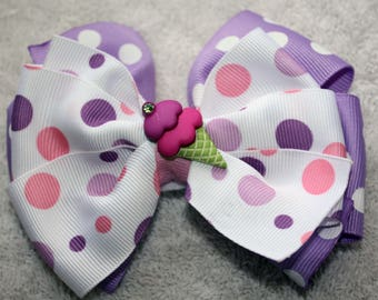 Pink, Purple and white Hair Bow, Alligator Clip, Ice Cream Button