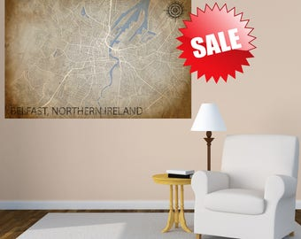 Belfast City Print, Street Map Art, Belfast Map Poster, Belfast Map Print, City Map Wall Art, Belfast Map, Travel Poster, Northern Ireland